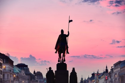 Statue of Saint Wenceslas on Wenceslas Square in Prague, Czech Republic